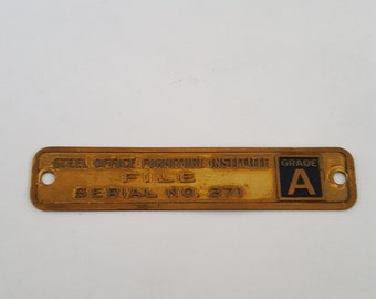 Vintage Copper Office Furniture Tag Grade A Steel Office Furniture  Institute File Serial No 371