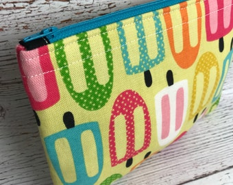 Popsicle Print Pouch, Zipper Pouch, Makeup Bag, Cosmetic Bags, Clutch, Makeup Bags, Catch All Bag, Travel Bag, Purse Pouch, Summer Pouch