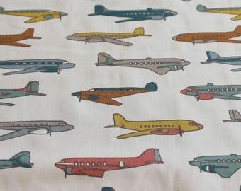 Airplane Nursery - Organic Baby Bedding - Plane Baby Bedding - Travel Crib Sheet - Gender Neutral Baby - Plane Nursery - Birch Fabric Planes