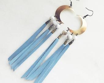 Baby Blues Crescent Earrings
