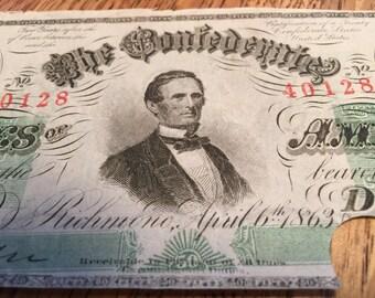 1863 Confederate 50 Dollar Note, T-57