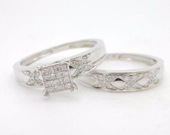 10K White Gold 0.20cttw Round H-SI Diamond Engagement Wedding Ring Set-7.25; sku # 2753