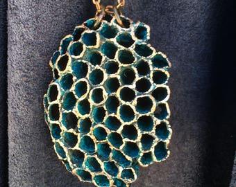 Electroformed wasp nest pendant