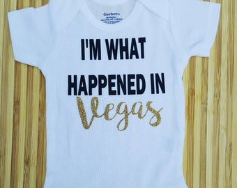 I'm What Happened in Vegas. Funny Baby Onsie. Funny Pregnancy Reveal. Going Home Outfit