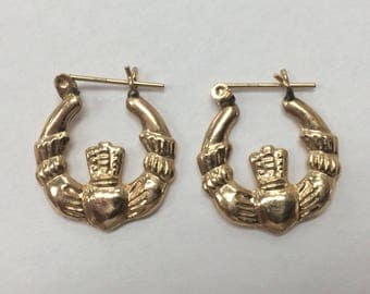 14K Yellow Gold CLADDAUGH Hoop Earrings 1.9 Grams BEAUTIFUL