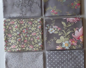 Poetry Floral by Moda Cotton Fabric, Fat Quarter Bundle of 6 ~Grp #5-Medium Gray~Fast Shipping Fq684