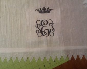 Custom Victorian Crown and Monogram /Name TeaTowels with decorative trim