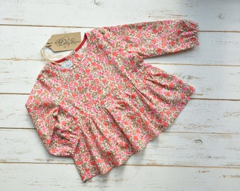 Long Sleeve Shirt Flower Print Cotton Brown/Coral