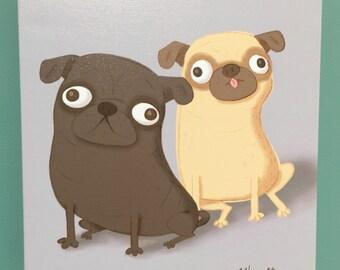 Canvas Print Pug Duo Art Illustration