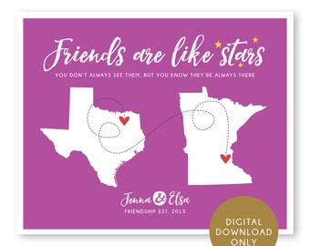 DIGITAL DOWNLOAD, Best Friends Map, Long Distance Hometowns, Personalized Map, Birthday Gift for Best Friend, Sisters, Long Distance Map