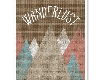 Wanderlust Print, Travel Quote Art, Wanderlust Print Map, Travel Decor, Bedroom Wall Decor, Rustic Travel Art, Graduation Gift