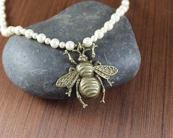 Eleanor's Bee necklace ~ Black Sails Inspired ~ High Quality Swarovski Cream Pearls