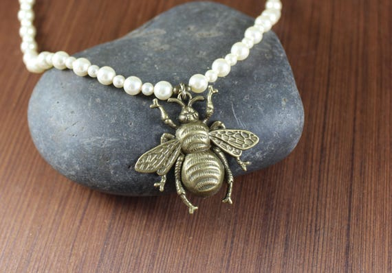 Eleanor's Bee necklace ~ Black Sails Inspired ~ High Quality Swarovski Cream Pearls
