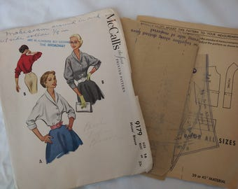 1950s McCalls Blouse Pattern #9179 Size 34 Bust Button Front Small Collar