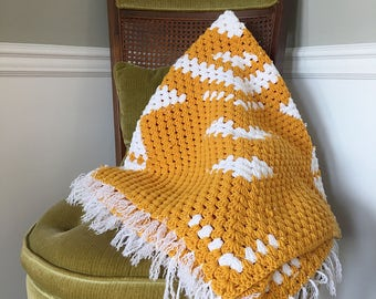 Mustard and white vintage afghan blanket