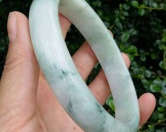 78mm-L02-Light Green with Dark Green Lines A Grade Jadeite Jade Bangle