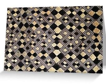 African Art Greeting Card 4x6 or 5x7.5 - Blank Inside / Kuba Cloth Design #3 / Orig Fine Art Photography