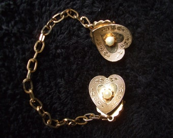 Vintage Double Heart with Faux Seed Pearls Sweater Guard, Sweater Chain Clip