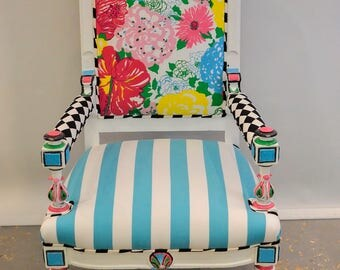Lilly Pulitzer Harlequin Chair - FREE SHIPPING to anywhere in the US, lilly pulitzer, floral print, harlequin fabric, eclectic, funky