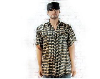 Men's silk shirt ,men's blue summer shirt -  short sleeve shirt, Men's casual shirt ,  button down shirt , size XL shirt    # 259