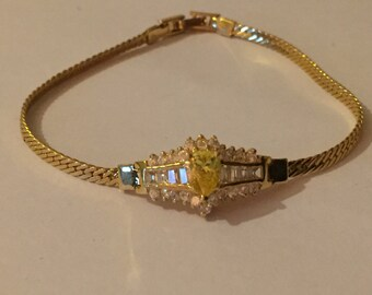 Vintage Imitation Diamond Fancy Glass  Paste Bracelet