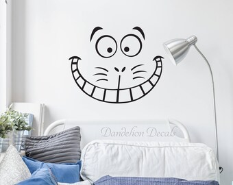 Cheshire Cat Face – Alice In wonderland Decal – Cheshire Cat Wall Decal – Cheshire Cat Smile - Cheshire Cat Wall Sticker
