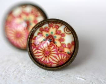 Earrings, 12 mm, boho, abstract