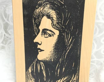 Woman rubber stamp by Stampland, lady stamp, people stamp, woman stamp, woman with cloak, face stamp, art journal, collage, craft stamp