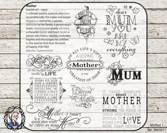 Mother Overlay / Mum Clip Art / Mom Digital Stamp / Word Art Quotes / Scrapbooking / Photography / Ai  / PSD / 40 PNG black,white,chalk,gold