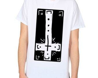 Inverted Cross T-Shirt, Street Goth Shirt, Upside Down Cross Top, Emo Clothing