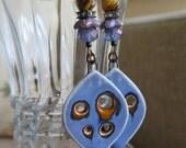 periwinkle earrings, periwinkle and brown earrings, boho earrings, statement earrings, porcelain earrings, unique earrings, long earrings