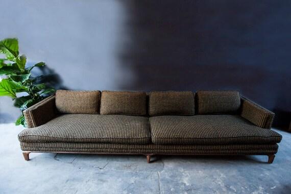 Monteverdi-Young Mid Century Black Mustard Wool Herringbone Sofa Couch