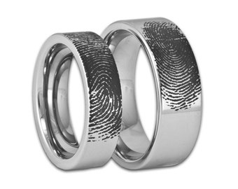Couples Custom Engraved Pipe Cut Tungsten Fingerprint Rings His and Hers Matching Wedding Bands Personalized Flat Style