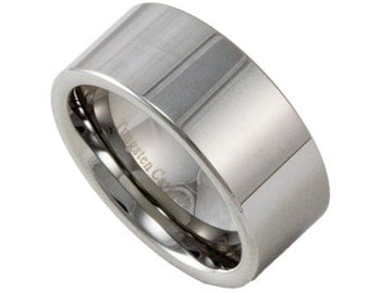 10mm wide mens tungsten wedding band custom engraved promise ring - Tungsten Mens Wedding Rings