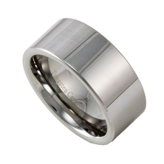 10mm wide mens tungsten wedding band custom engraved promise