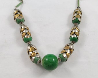 Art Deco Style Stylized Two Tones Leaves with Green Beads