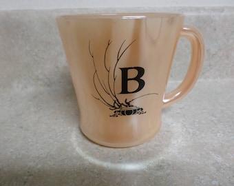 Vintage 1950's Glasbake Peach Lusterware Mug Made in U. S. A.