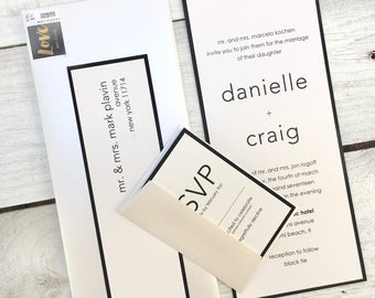 Contemporary Wedding Invitation, Elegant Wedding Invitation, Black and Cream Wedding Invitation, Black Tie Invitation, Invitation