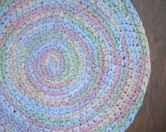 "34"" Pastel Hand Crocheted Rug, Girl's Bedroom Rug, Circular Rag Rug, Little Girl Nursery Rug, Braided Rug, Round Rag Rug, Pink Rug"