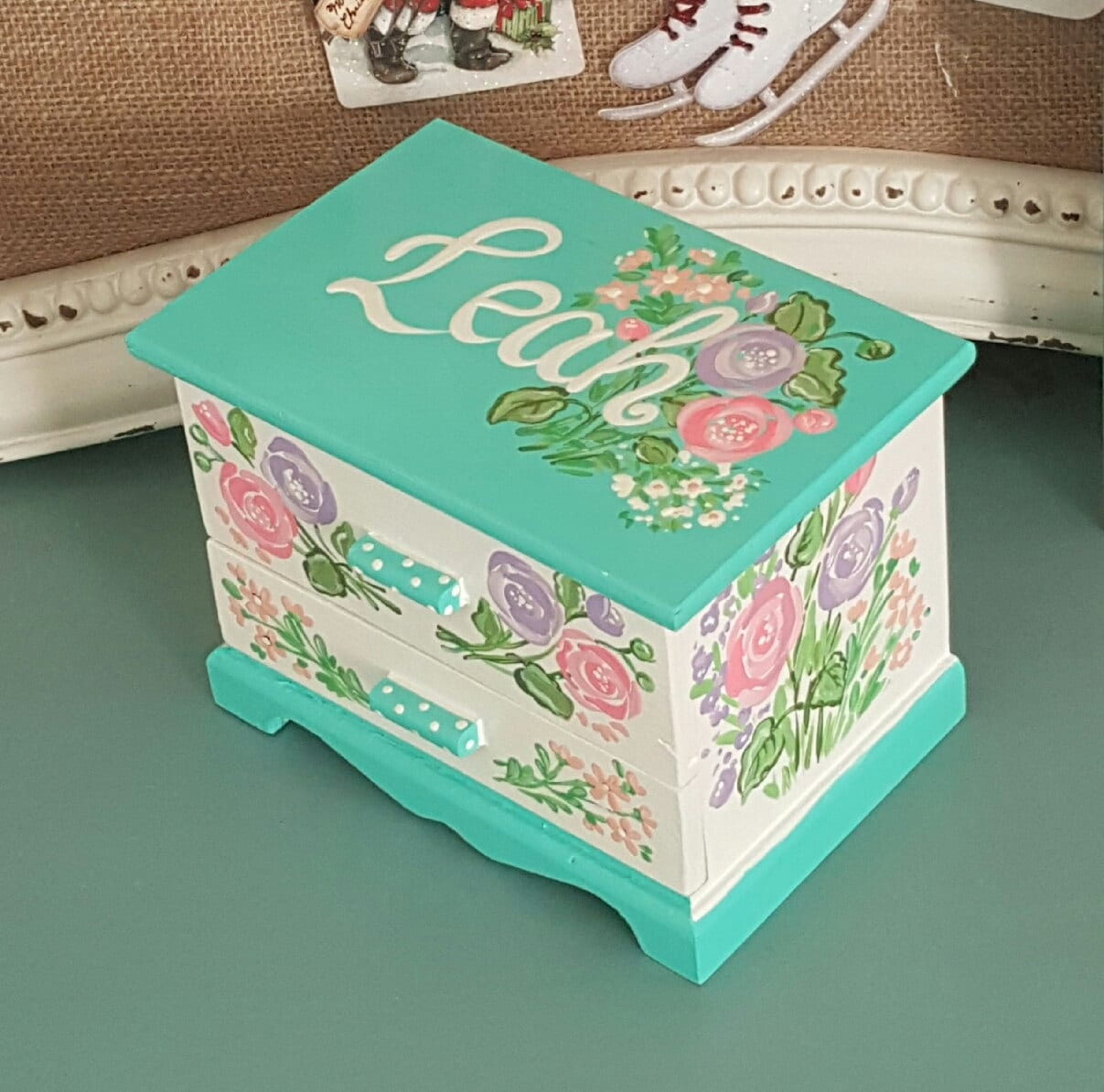Childs Wood Painted Jewlery Box From  S