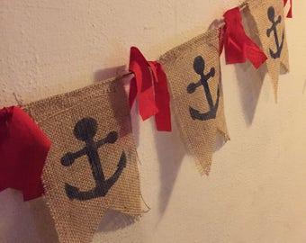 Nautical Navy Anchor Burlap Banner