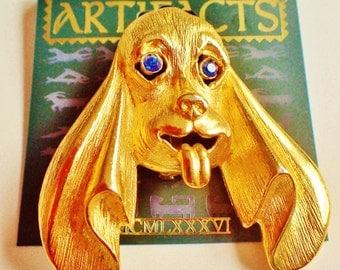 JJ Jonette Large Gold Tone Long Eared Hound Dog Brooch Pin