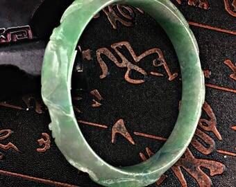 Jade Bangle Bracelet Carved Flower Design 20th C. 57 mm Chinese Glossy Apple Green Jadeite Bracelet Stunning Jade Bangle