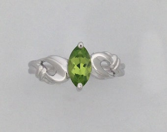 Marquise Cut Natural Peridot Ring 925 Sterling Silver