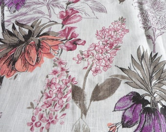 Kitchen Curtains, White Lilac Cafe Curtains, Linen Kitchen Curtain Panels, Linen Natural Valance, Pink Floral Curtains, Window Valance