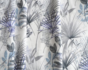 Linen tablecloth 54 x98. Natural linen tablecloth. Blue Palm Leaves Tablecloth