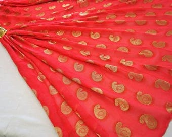 Water melon red georgette with gold jacquard fabric