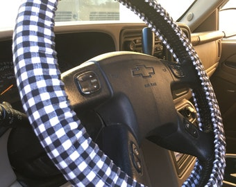 Steering Wheel Cover Black White Gingham Checkered ~ Great Gift Idea Car Accessory