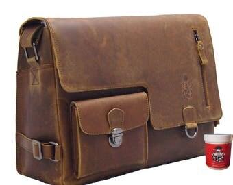 Men's Messenger Bag - Crossbody Bag BERING brown genuine leather - BARON of MALTZAHN