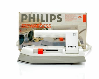 vintage travel IRON by PHILIPS 'Stewardess' hd 1168 portable/mobile with OG box 80s 90s